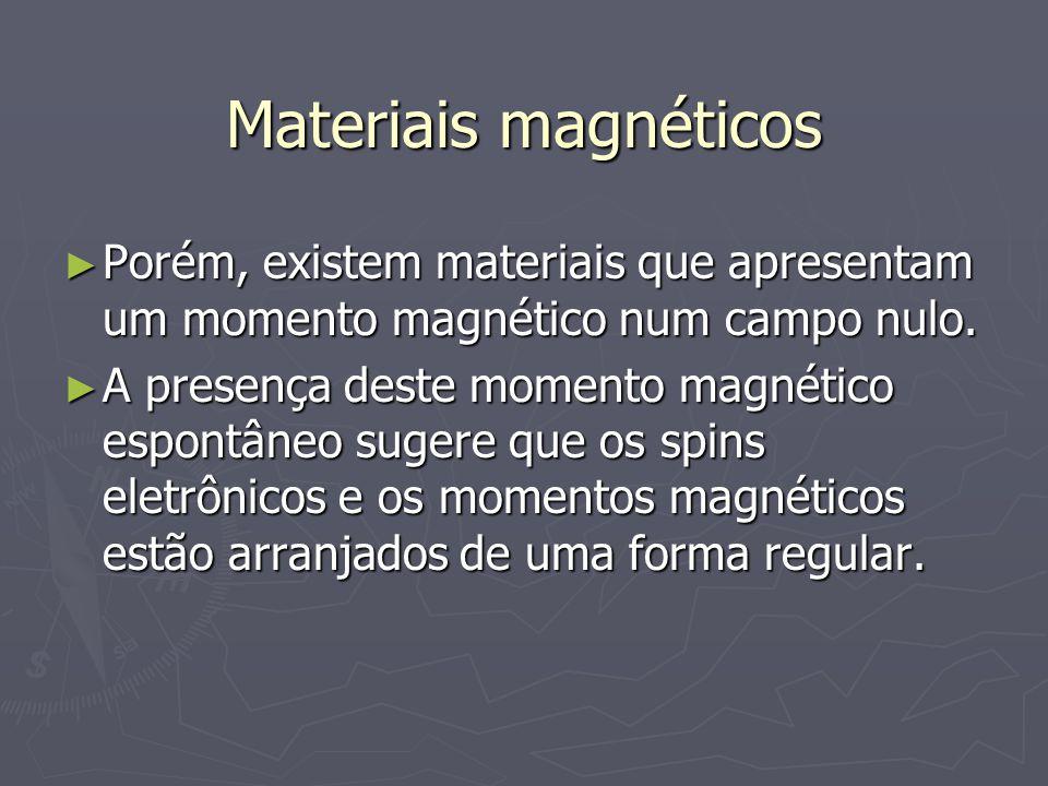Materiais magnéticos Porém, existem materiais que apresentam um momento magnético num campo nulo. Porém, existem materiais que apresentam um momento m