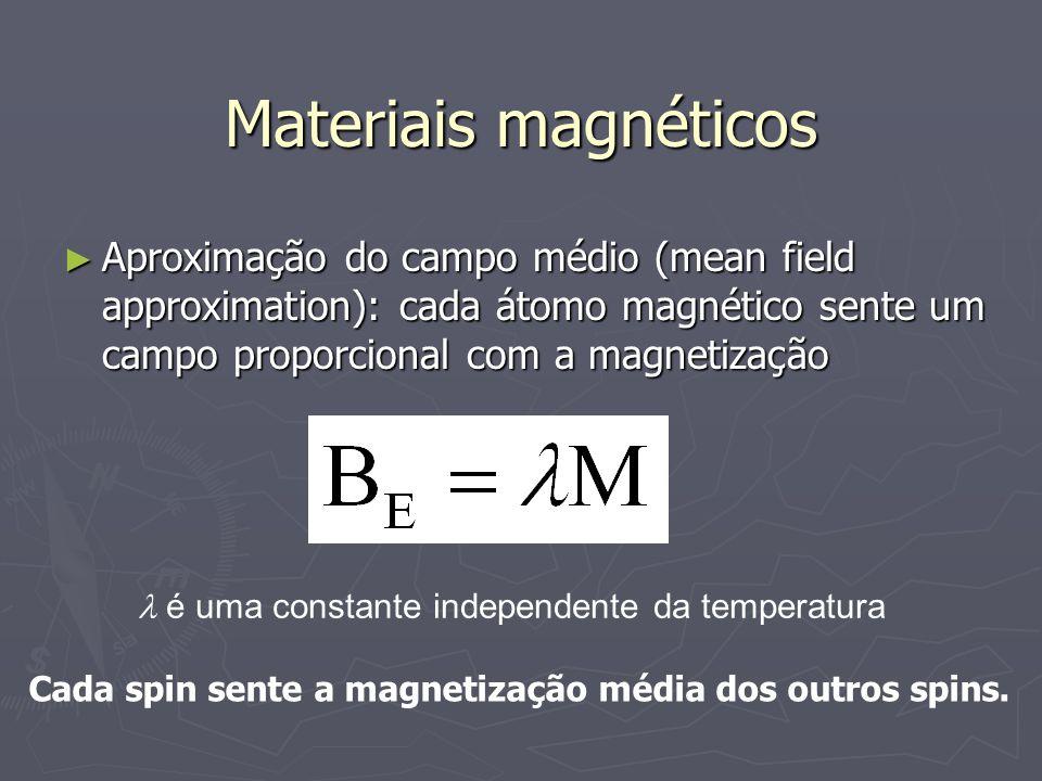 Materiais magnéticos Aproximação do campo médio (mean field approximation): cada átomo magnético sente um campo proporcional com a magnetização Aproximação do campo médio (mean field approximation): cada átomo magnético sente um campo proporcional com a magnetização é uma constante independente da temperatura Cada spin sente a magnetização média dos outros spins.