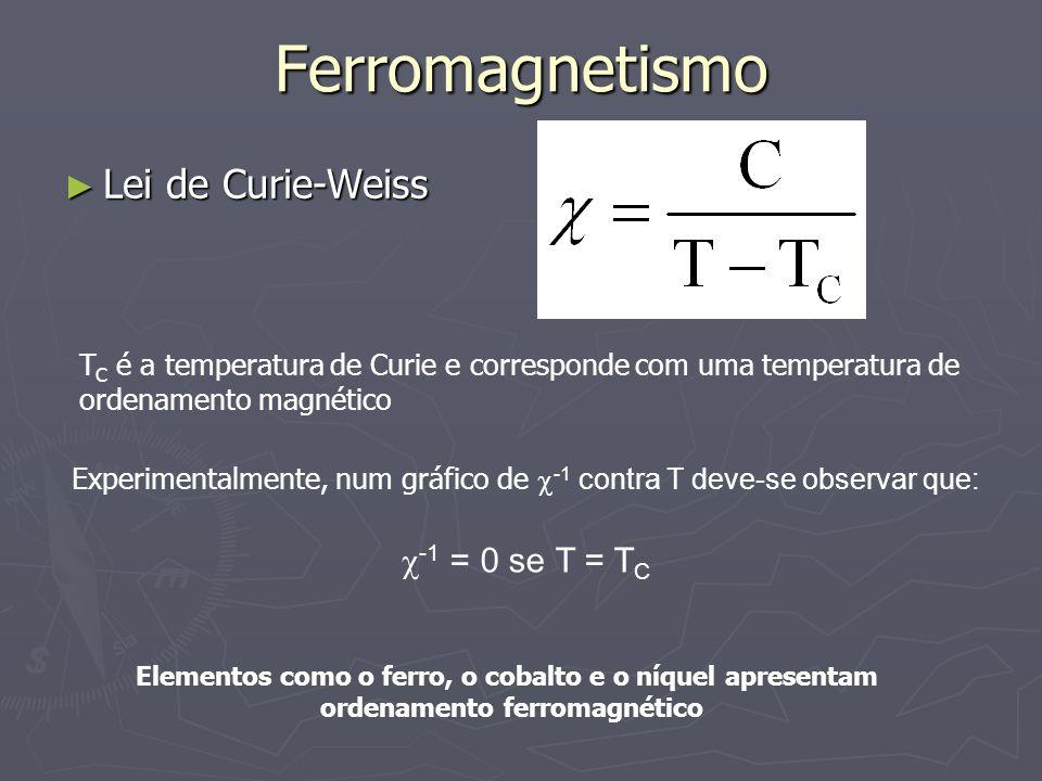 Ferromagnetismo Lei de Curie-Weiss Lei de Curie-Weiss T C é a temperatura de Curie e corresponde com uma temperatura de ordenamento magnético Experime
