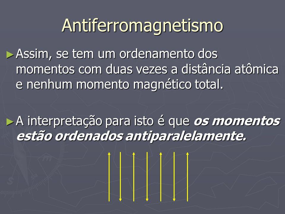 Antiferromagnetismo Assim, se tem um ordenamento dos momentos com duas vezes a distância atômica e nenhum momento magnético total. Assim, se tem um or