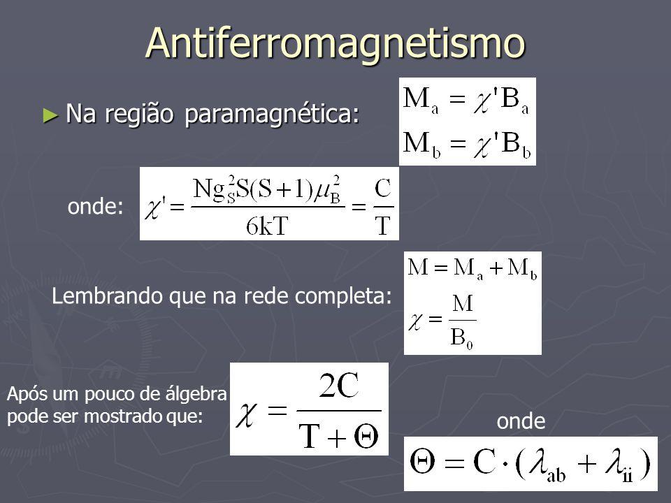 Antiferromagnetismo Na região paramagnética: Na região paramagnética: onde: Lembrando que na rede completa: Após um pouco de álgebra pode ser mostrado que: onde