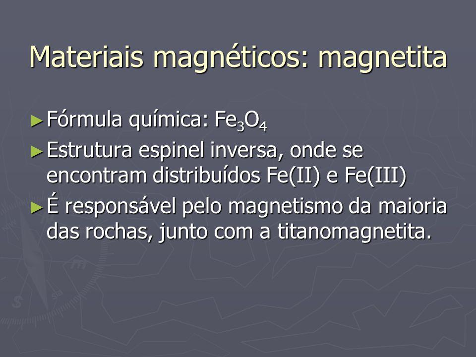 Materiais magnéticos: magnetita Fórmula química: Fe 3 O 4 Fórmula química: Fe 3 O 4 Estrutura espinel inversa, onde se encontram distribuídos Fe(II) e