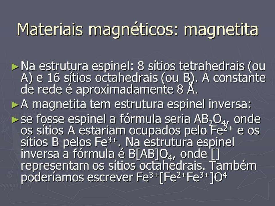 Materiais magnéticos: magnetita Na estrutura espinel: 8 sítios tetrahedrais (ou A) e 16 sítios octahedrais (ou B).