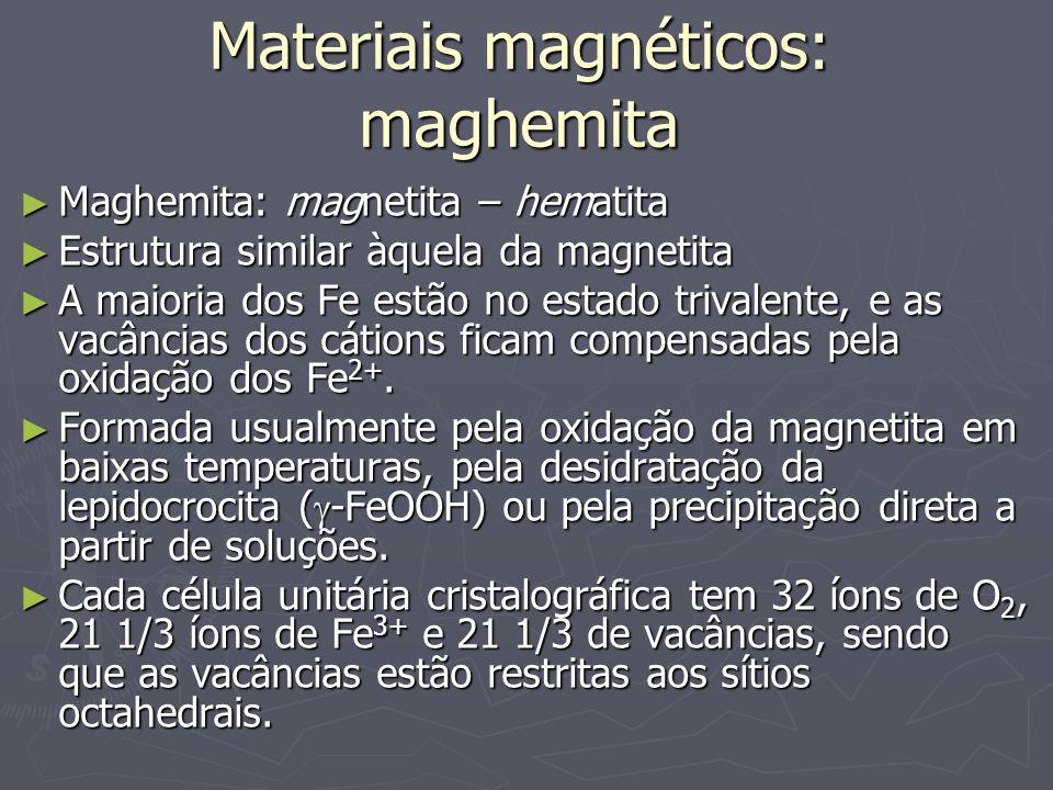 Materiais magnéticos: maghemita Maghemita: magnetita – hematita Maghemita: magnetita – hematita Estrutura similar àquela da magnetita Estrutura similar àquela da magnetita A maioria dos Fe estão no estado trivalente, e as vacâncias dos cátions ficam compensadas pela oxidação dos Fe 2+.