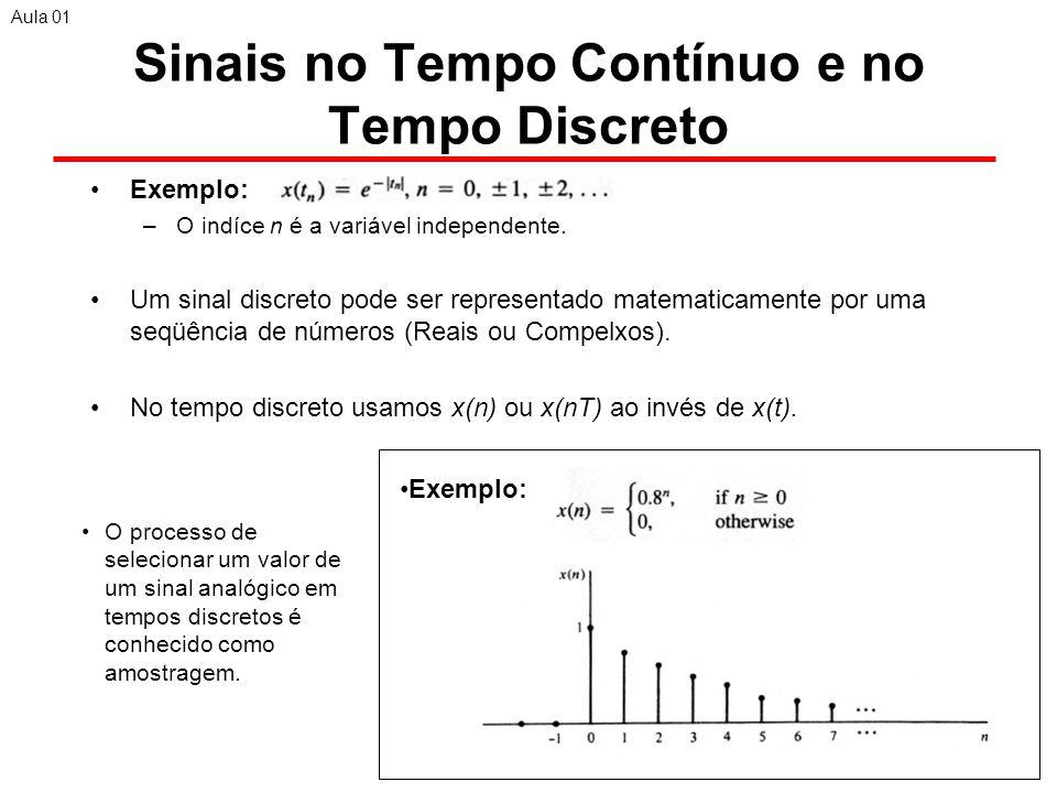 11 Sinais no Tempo Contínuo e no Tempo Discreto Exemplo: –O indíce n é a variável independente.