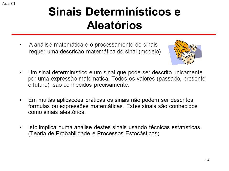 14 Sinais Determinísticos e Aleatórios Um sinal determinístico é um sinal que pode ser descrito unicamente por uma expressão matemática.