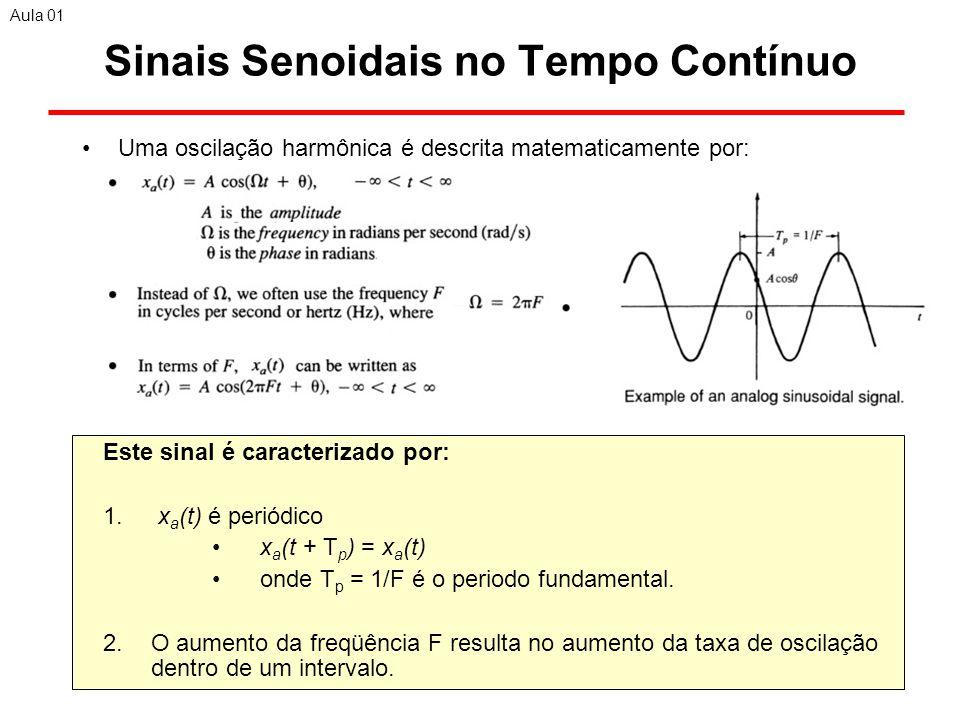 17 Sinais Senoidais no Tempo Contínuo Uma oscilação harmônica é descrita matematicamente por: Aula 01 Este sinal é caracterizado por: 1.