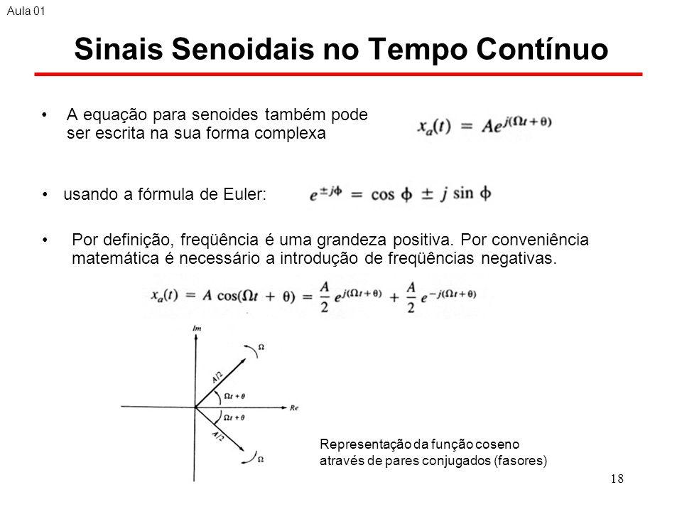 18 Sinais Senoidais no Tempo Contínuo A equação para senoides também pode ser escrita na sua forma complexa Aula 01 Por definição, freqüência é uma grandeza positiva.