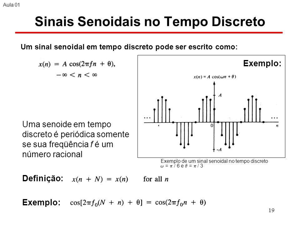 19 Exemplo de um sinal senoidal no tempo discreto = / 6 e = / 3 Sinais Senoidais no Tempo Discreto Uma senoide em tempo discreto é periódica somente se sua freqüência f é um número racional Definição: Exemplo: Aula 01 Um sinal senoidal em tempo discreto pode ser escrito como: Exemplo: