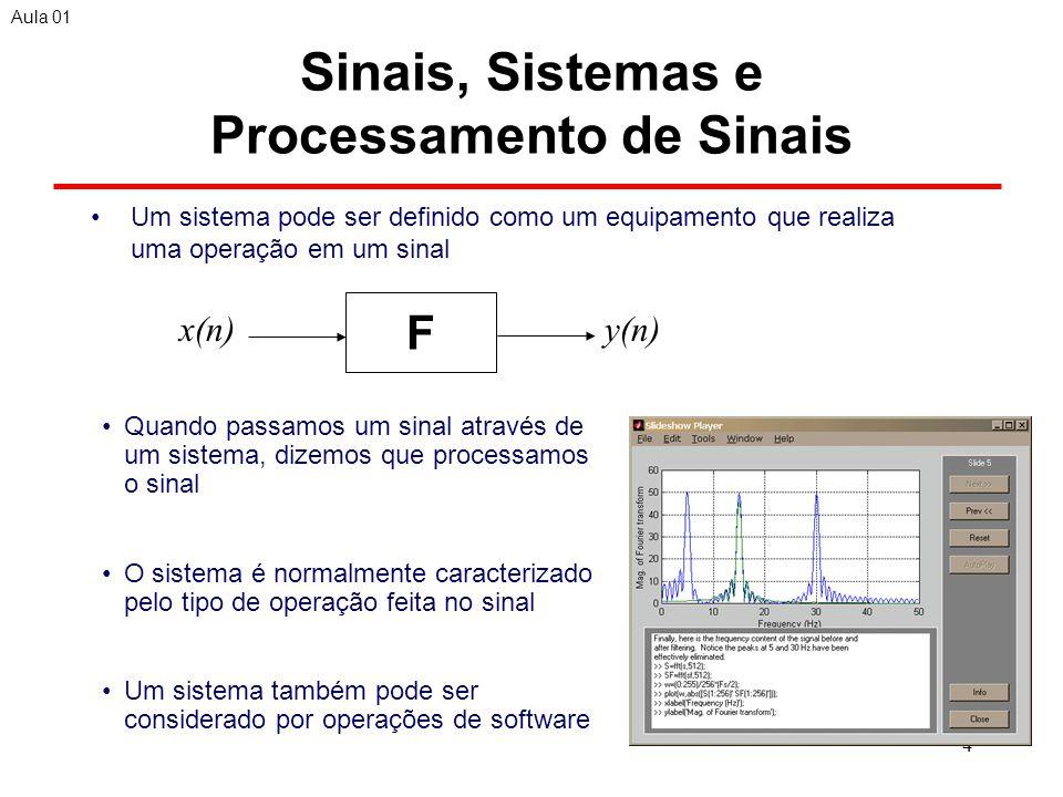 4 Sinais, Sistemas e Processamento de Sinais Um sistema pode ser definido como um equipamento que realiza uma operação em um sinal Aula 01 F x(n)y(n) Quando passamos um sinal através de um sistema, dizemos que processamos o sinal O sistema é normalmente caracterizado pelo tipo de operação feita no sinal Um sistema também pode ser considerado por operações de software