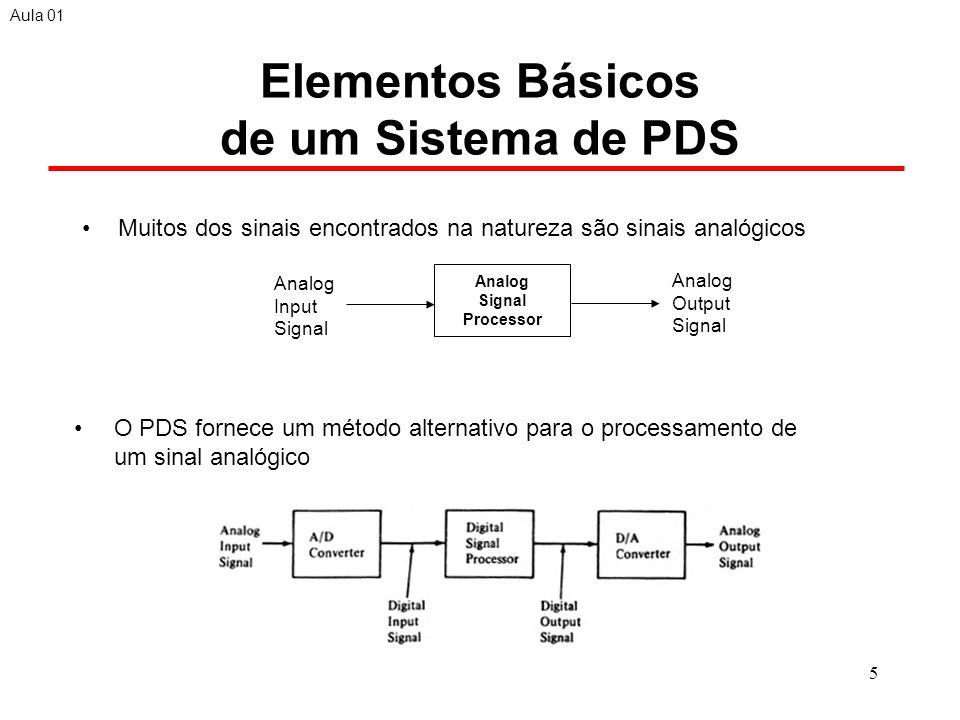 5 Elementos Básicos de um Sistema de PDS Muitos dos sinais encontrados na natureza são sinais analógicos Aula 01 O PDS fornece um método alternativo para o processamento de um sinal analógico Analog Signal Processor Analog Input Signal Analog Output Signal