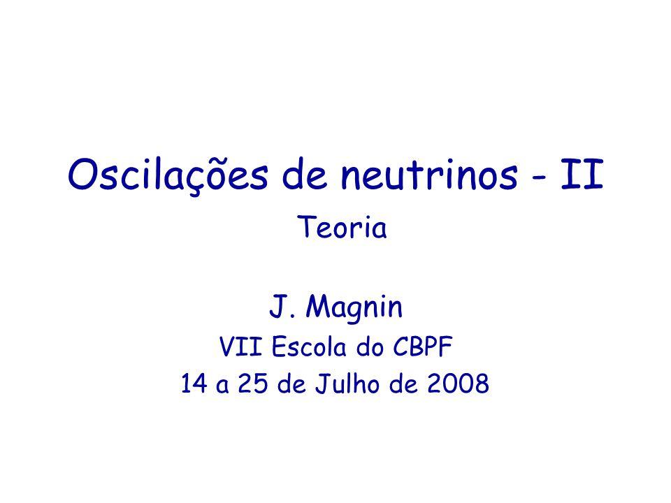 Conteúdo Introdução a oscilações de neutrinos na matéria O problema dos neutrinos solares O problema dos neutrinos atmosféricos Neutrinos de reator Conclusões