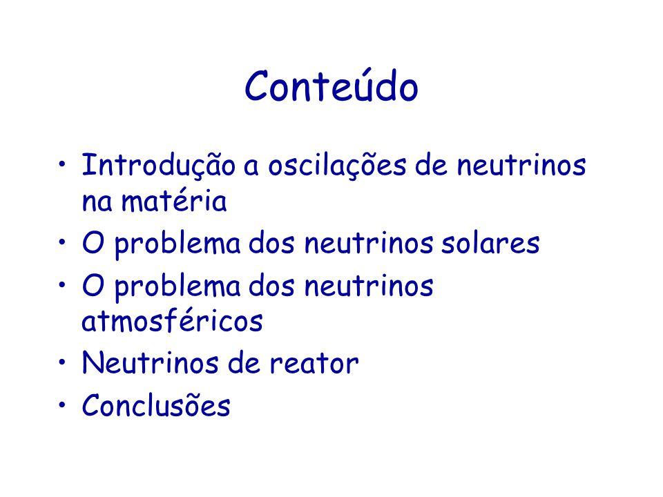 Conteúdo Introdução a oscilações de neutrinos na matéria O problema dos neutrinos solares O problema dos neutrinos atmosféricos Neutrinos de reator Co
