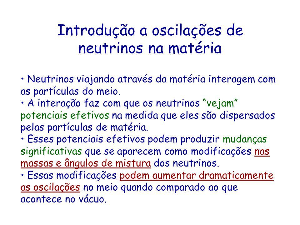 Introdução a oscilações de neutrinos na matéria Neutrinos viajando através da matéria interagem com as partículas do meio. A interação faz com que os