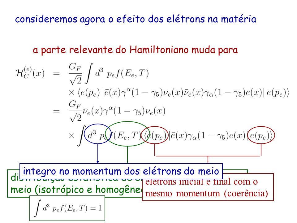 consideremos agora o efeito dos elétrons na matéria a parte relevante do Hamiltoniano muda para distribuição estatística de energia dos elétrons no meio (isotrópico e homogêneo) com temperatura T elétrons inicial e final com o mesmo momentum (coerência) integro no momentum dos elétrons do meio