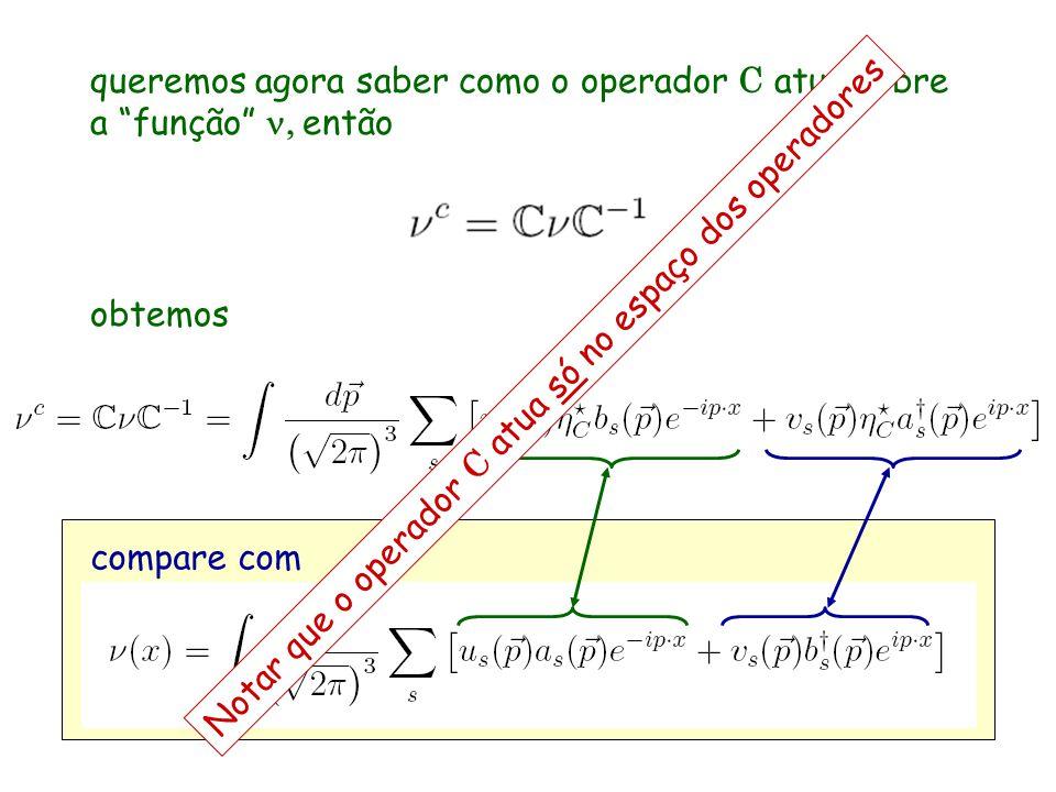 queremos agora saber como o operador C atua sobre a função então obtemos compare com Notar que o operador C atua só no espaço dos operadores