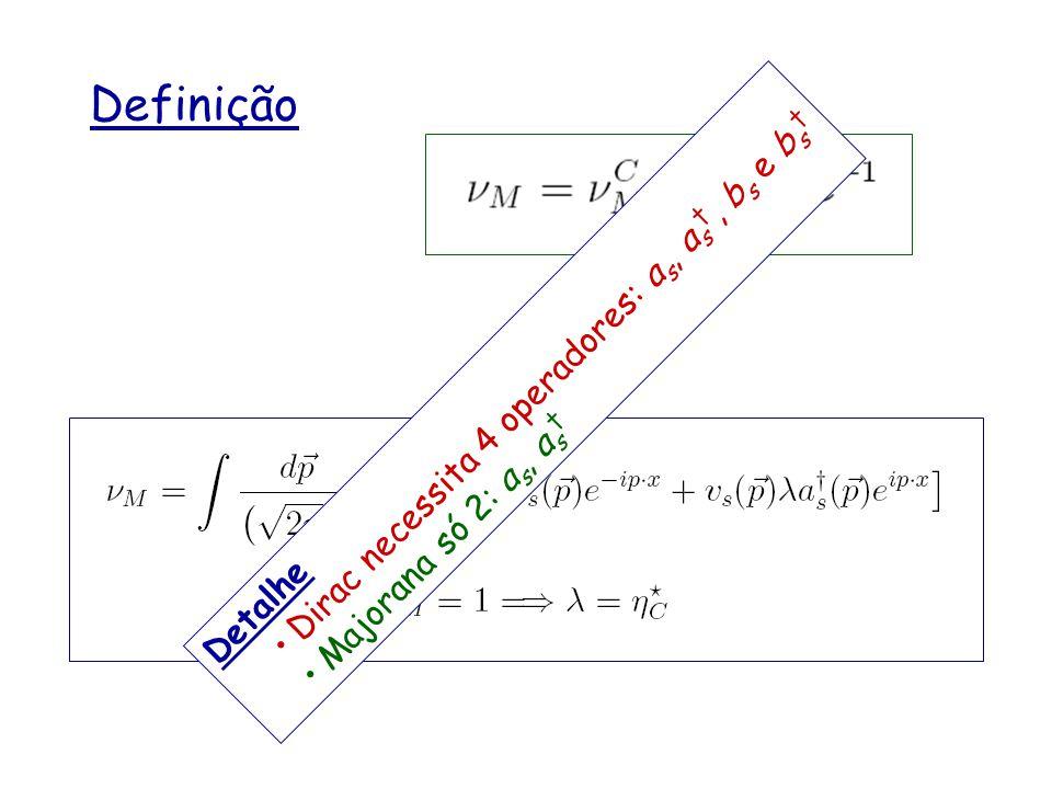 Definição Detalhe Dirac necessita 4 operadores: a s, a s, b s e b s Majorana só 2: a s, a s
