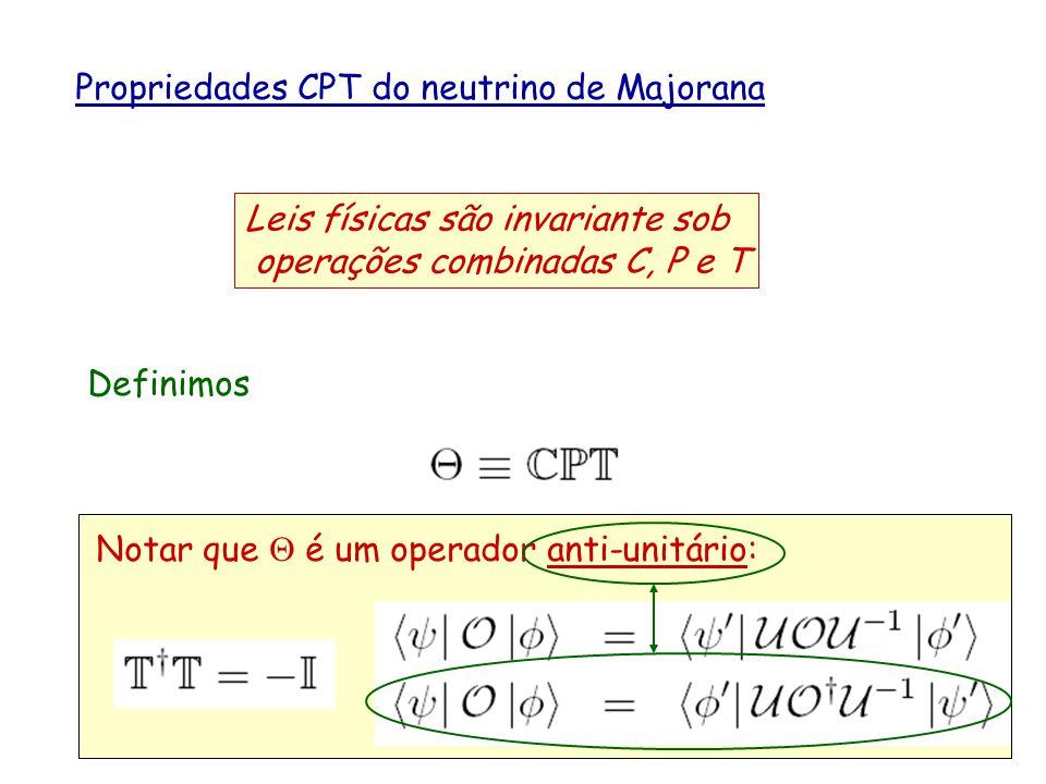 Propriedades CPT do neutrino de Majorana Leis físicas são invariante sob operações combinadas C, P e T Definimos Notar que é um operador anti-unitário