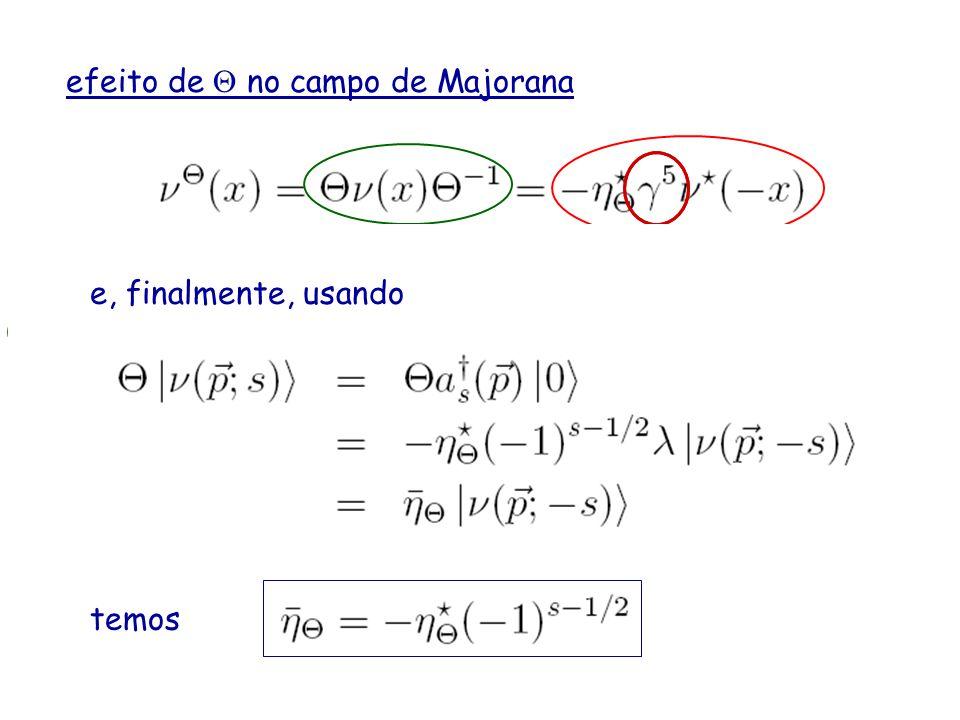 efeito de no campo de Majorana T tem a ver com 1 3 e conjugação complexa CP e i 2 0 i 2 0 1 3 = i 0 1 2 3 = 5 Compare e use então agora use a identida