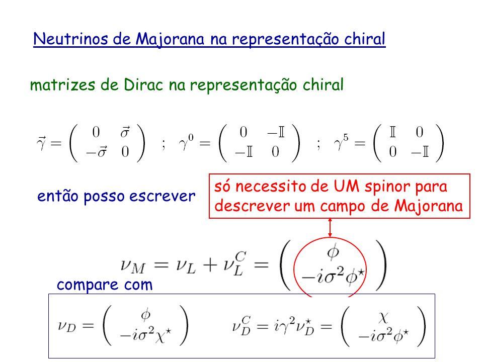Neutrinos de Majorana na representação chiral matrizes de Dirac na representação chiral representação de Dirac compare com e lembre que na representaç