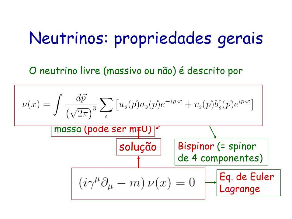 Neutrinos: propriedades gerais O neutrino livre (massivo ou não) é descrito por Bispinor (= spinor de 4 componentes) A equação de movimento é Eq. de E
