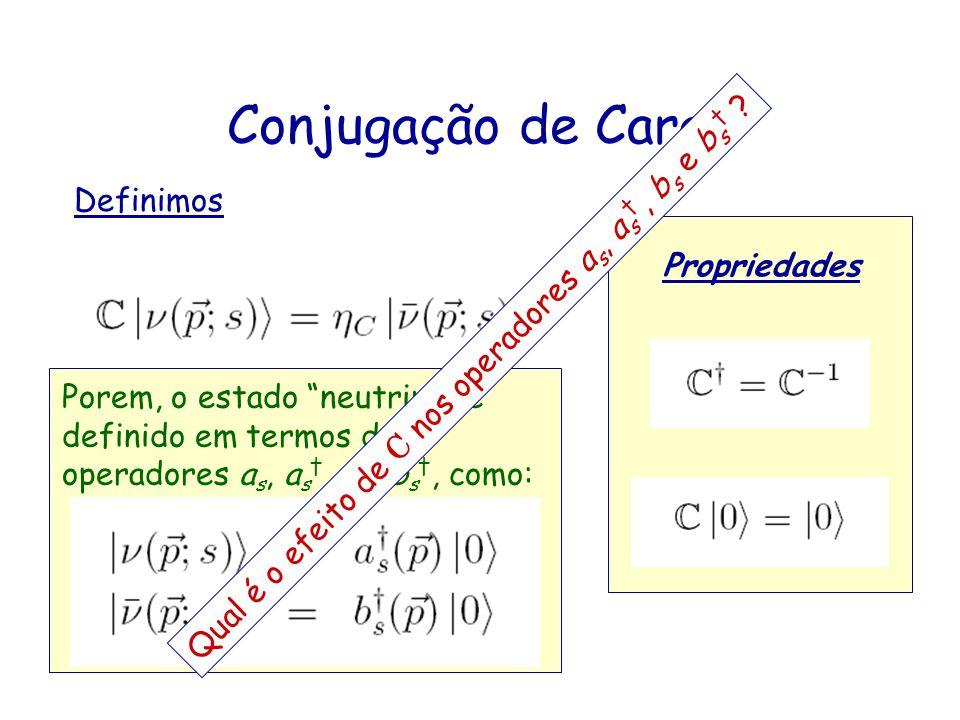 Definimos Propriedades Conjugação de Carga Porem, o estado neutrino é definido em termos dos operadores a s, a s, b s, b s, como: Qual é o efeito de C