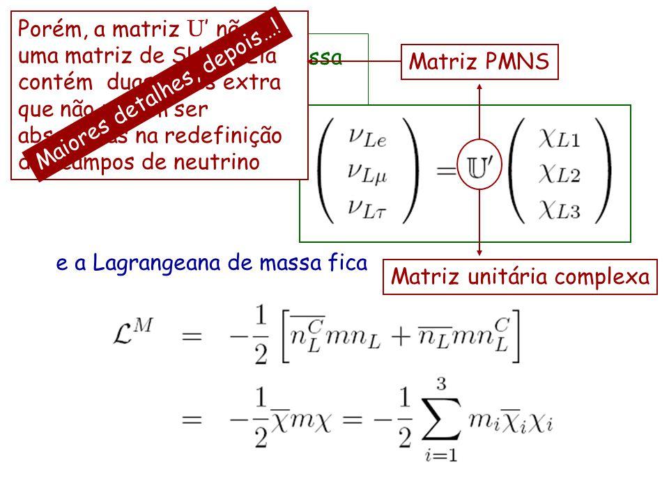 construímos agora o neutrino de Majorana e a Lagrangeana de massa fica As bases de sabor e de massa estão relacionadas por Matriz PMNS Matriz unitária
