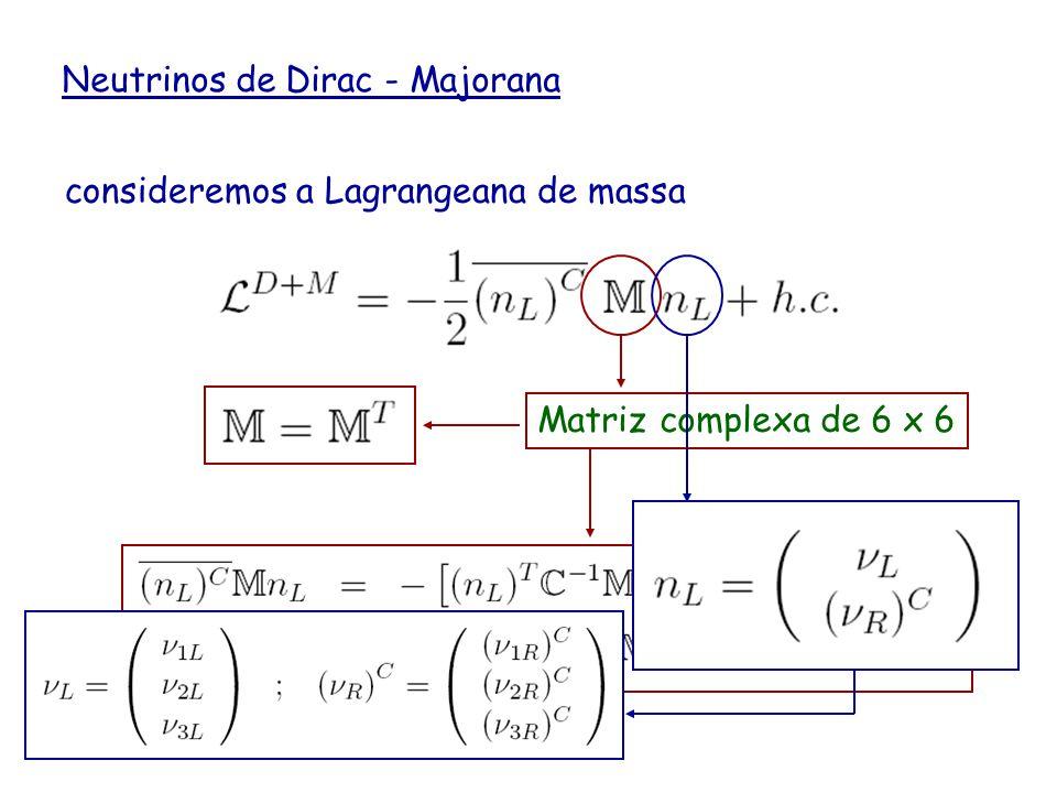 Neutrinos de Dirac - Majorana consideremos a Lagrangeana de massa Matriz complexa de 6 x 6