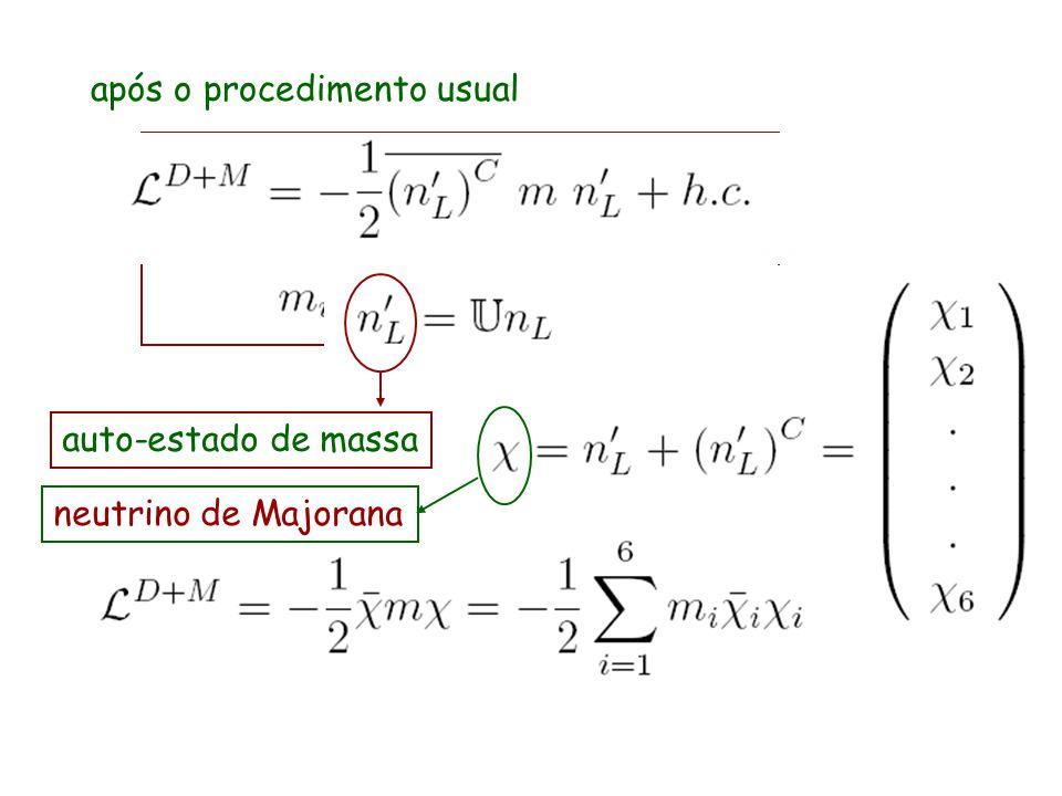 após o procedimento usual auto-estado de massa neutrino de Majorana