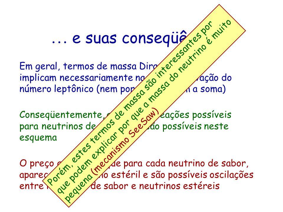 … e suas conseqüências ! Em geral, termos de massa Dirac-Majorana implicam necessariamente na não conservação do número leptônico (nem por família, ne