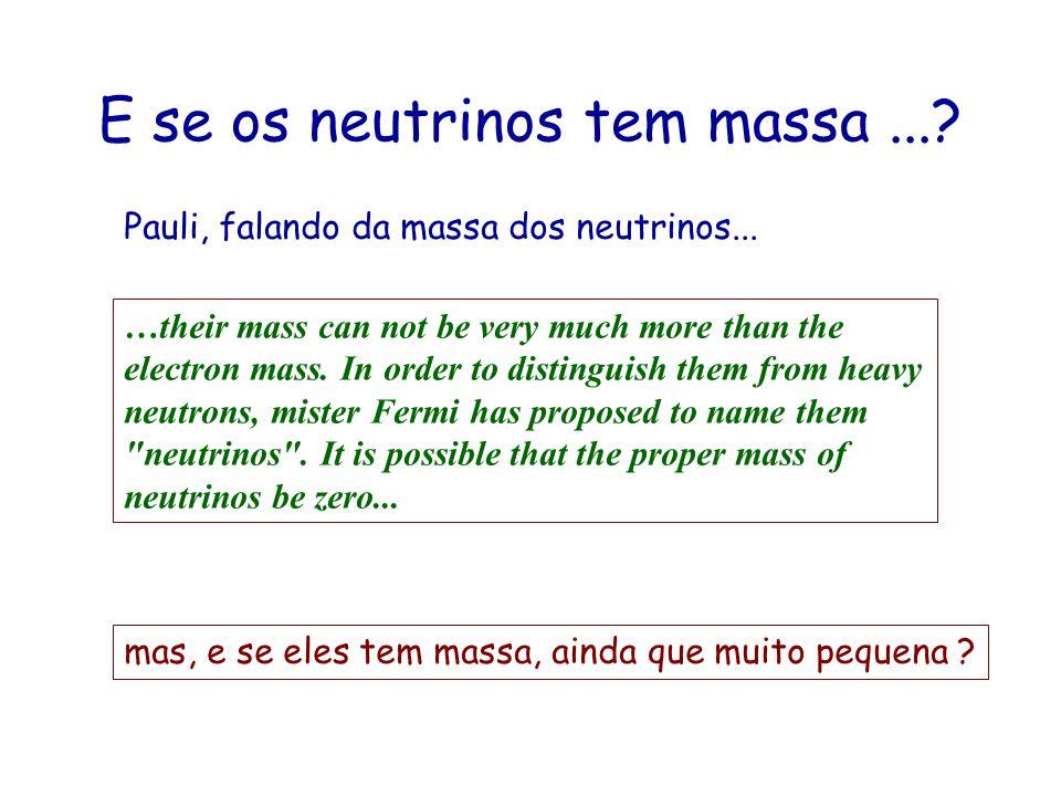 Majorana ou Dirac ? Os neutrinos são: esquerdos massa nula ou muito pequena E quem são as suas anti-partículas ? Dirac: R e L são partículas diferente