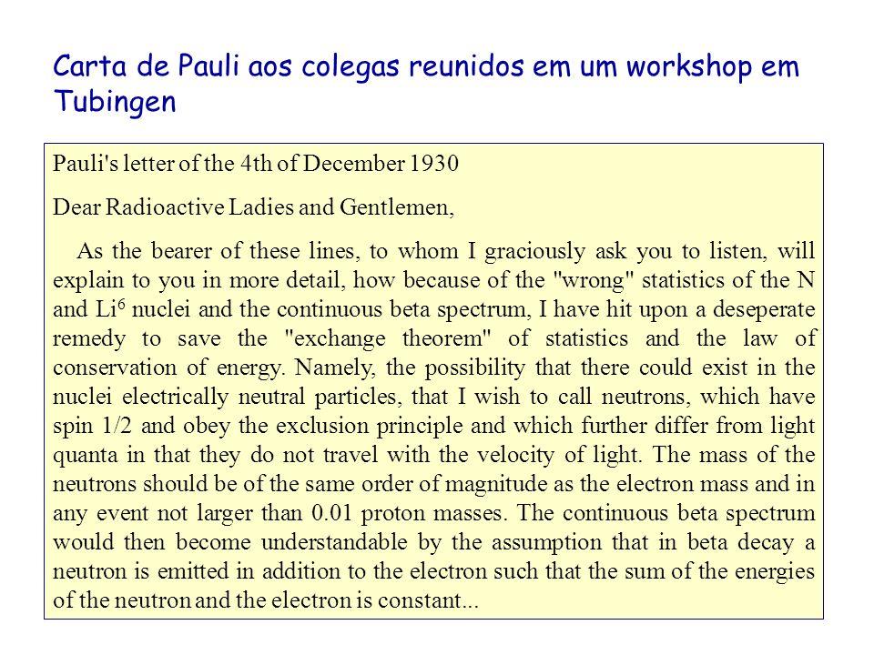 A solução de Wolfgang Pauli (1930): Se o decaimento fosse em dois corpos, então, conservação de energia e momentum requer Porém, um decaimento em três