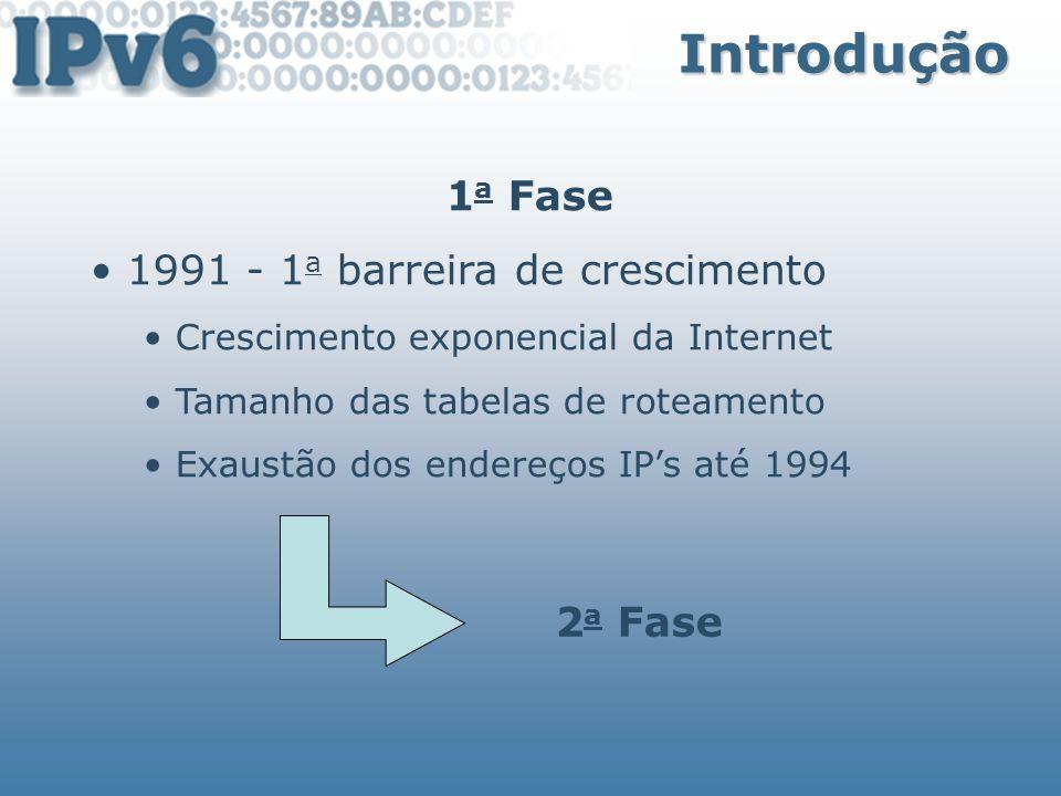 Tipos de Endereços Unspecifield Address Representado por 0:0:0:0:0:0:0:0 ou :: Indica a ausência de um endereço Utilizado como source address de hosts que não tenham obtido o seu próprio endereçamento