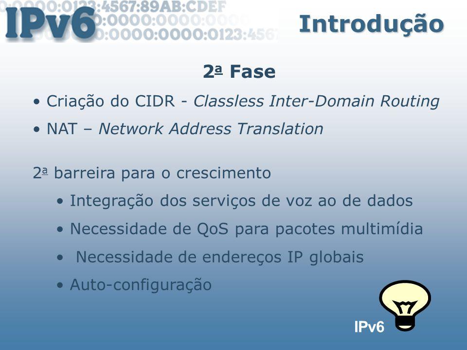 Tipos de Endereços Endereço Unicast Agregatable Global unicast Site-local unicast Link-local unicast IPv4-compatible IPv6 IPv4-mapped IPv6 Loopback Unspecifield