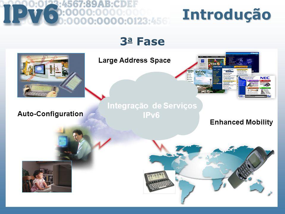 Objetivos Objetivos Espaço de endereços de 32 para 128 bits Cabeçalho simplificado Arquitetura hierárquica de rede Compatibilidade com protocolos de roteamento Auto-configuração Eliminação do NAT Suporte à QoS Crescimento do n o de endereços Multicast