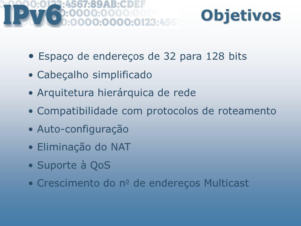 Endereço Multicast Tipos de Endereços Nós Ipv6 recebem pacotes destinados aos grupos: FF02::1 – todos os nós (link-local scope) FF02::2 - todos os Roteadores (link-local scope) FF05::2 – todos os Roteadores (site-local scope) FF02::1:FFXX:XXXX/104 - Solicited-Node multicast address