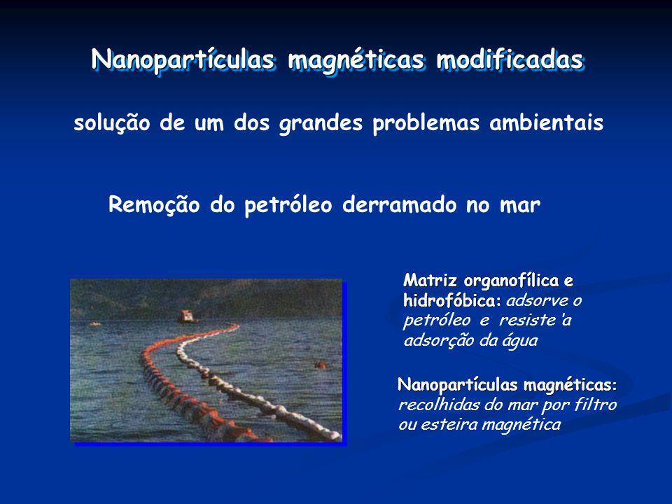 Nanopartículas magnéticas modificadas solução de um dos grandes problemas ambientais Remoção do petróleo derramado no mar Matriz organofílica e hidrofóbica: Matriz organofílica e hidrofóbica: adsorve o petróleo e resiste a adsorção da água Nanopartículas magnéticas : Nanopartículas magnéticas : recolhidas do mar por filtro ou esteira magnética