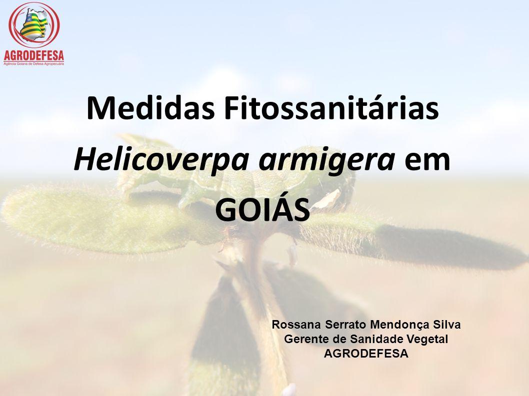 Medidas Fitossanitárias Helicoverpa armigera em GOIÁS Rossana Serrato Mendonça Silva Gerente de Sanidade Vegetal AGRODEFESA