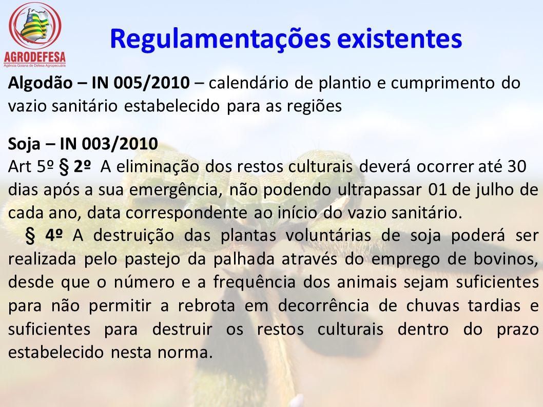 Regulamentações existentes Algodão – IN 005/2010 – calendário de plantio e cumprimento do vazio sanitário estabelecido para as regiões Soja – IN 003/2