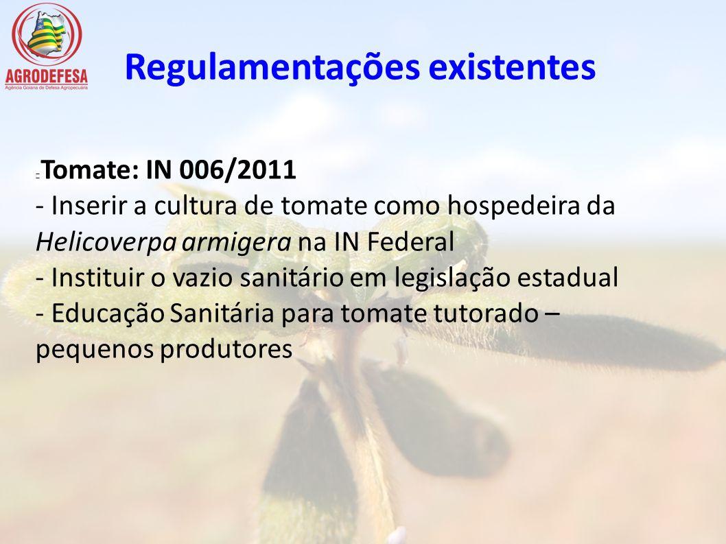 Tomate: IN 006/2011 - Inserir a cultura de tomate como hospedeira da Helicoverpa armigera na IN Federal - Instituir o vazio sanitário em legislação es