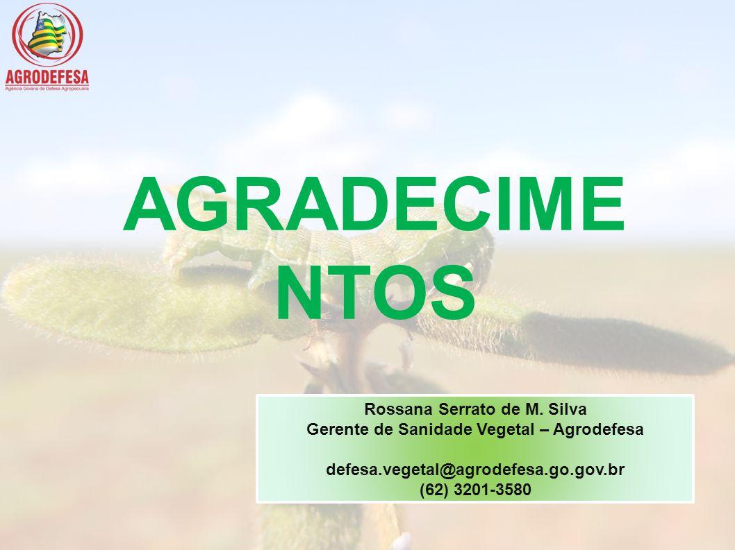 AGRADECIME NTOS Rossana Serrato de M. Silva Gerente de Sanidade Vegetal – Agrodefesa defesa.vegetal@agrodefesa.go.gov.br (62) 3201-3580