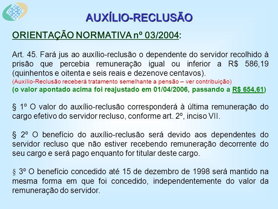 AUXÍLIO-RECLUSÃO ORIENTAÇÃO NORMATIVA nº 03/2004: Art.