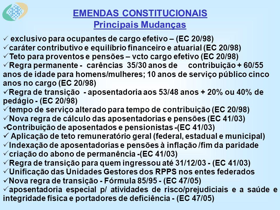 EMENDAS CONSTITUCIONAIS Principais Mudanças exclusivo para ocupantes de cargo efetivo – (EC 20/98) caráter contributivo e equilíbrio financeiro e atuarial (EC 20/98) Teto para proventos e pensões – vcto cargo efetivo (EC 20/98) Regra permanente - carências 35/30 anos de contribuição + 60/55 anos de idade para homens/mulheres; 10 anos de serviço público cinco anos no cargo (EC 20/98) Regra de transição - aposentadoria aos 53/48 anos + 20% ou 40% de pedágio - (EC 20/98) tempo de serviço alterado para tempo de contribuição (EC 20/98) Nova regra de cálculo das aposentadorias e pensões (EC 41/03) Contribuição de aposentados e pensionistas -(EC 41/03) Aplicação de teto remuneratório geral (federal, estadual e municipal) Indexação de aposentadorias e pensões à inflação /fim da paridade criação do abono de permanência -(EC 41/03) Regra de transição para quem ingressou até 31/12/03 - (EC 41/03) Unificação das Unidades Gestores dos RPPS nos entes federados Nova regra de transição - Fórmula 85/95 - (EC 47/05) aposentadoria especial p/ atividades de risco/prejudiciais e a saúde e integridade física e portadores de deficiência - (EC 47/05)