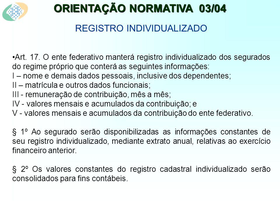 ORIENTAÇÃO NORMATIVA 03/04 REGISTRO INDIVIDUALIZADO Art.