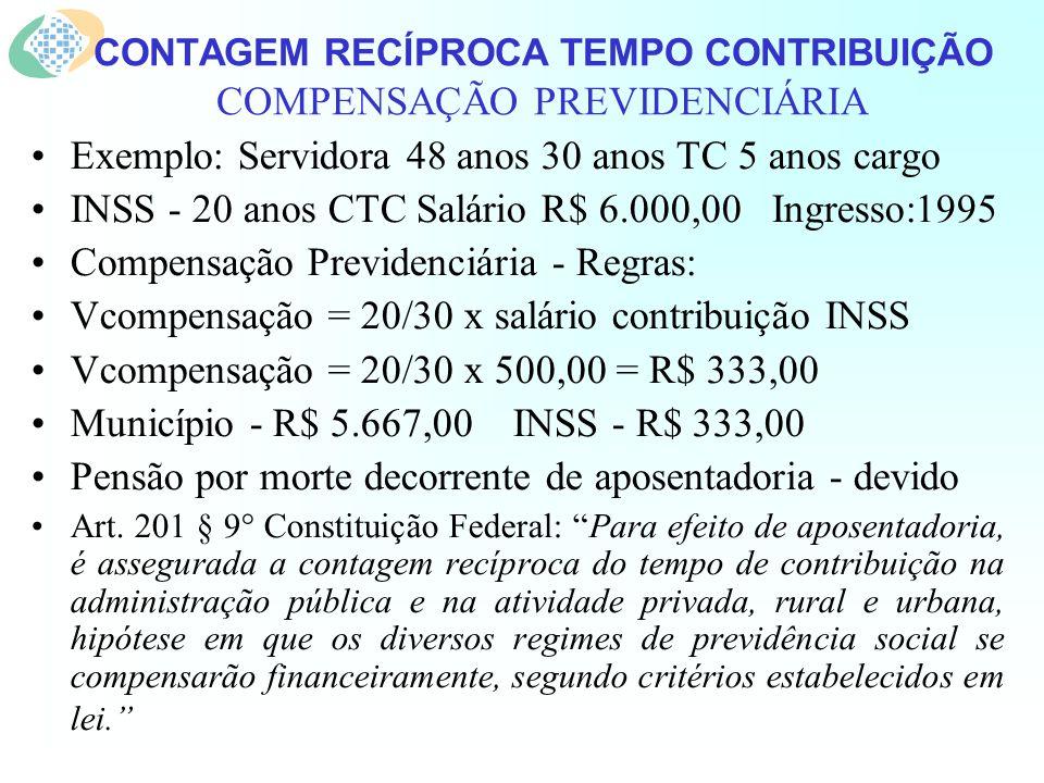 CONTAGEM RECÍPROCA TEMPO CONTRIBUIÇÃO COMPENSAÇÃO PREVIDENCIÁRIA Exemplo: Servidora 48 anos 30 anos TC 5 anos cargo INSS - 20 anos CTC Salário R$ 6.000,00 Ingresso:1995 Compensação Previdenciária - Regras: Vcompensação = 20/30 x salário contribuição INSS Vcompensação = 20/30 x 500,00 = R$ 333,00 Município - R$ 5.667,00 INSS - R$ 333,00 Pensão por morte decorrente de aposentadoria - devido Art.