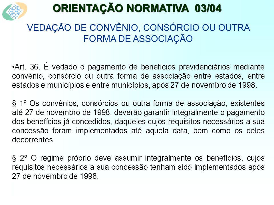 ORIENTAÇÃO NORMATIVA 03/04 VEDAÇÃO DE CONVÊNIO, CONSÓRCIO OU OUTRA FORMA DE ASSOCIAÇÃO Art.