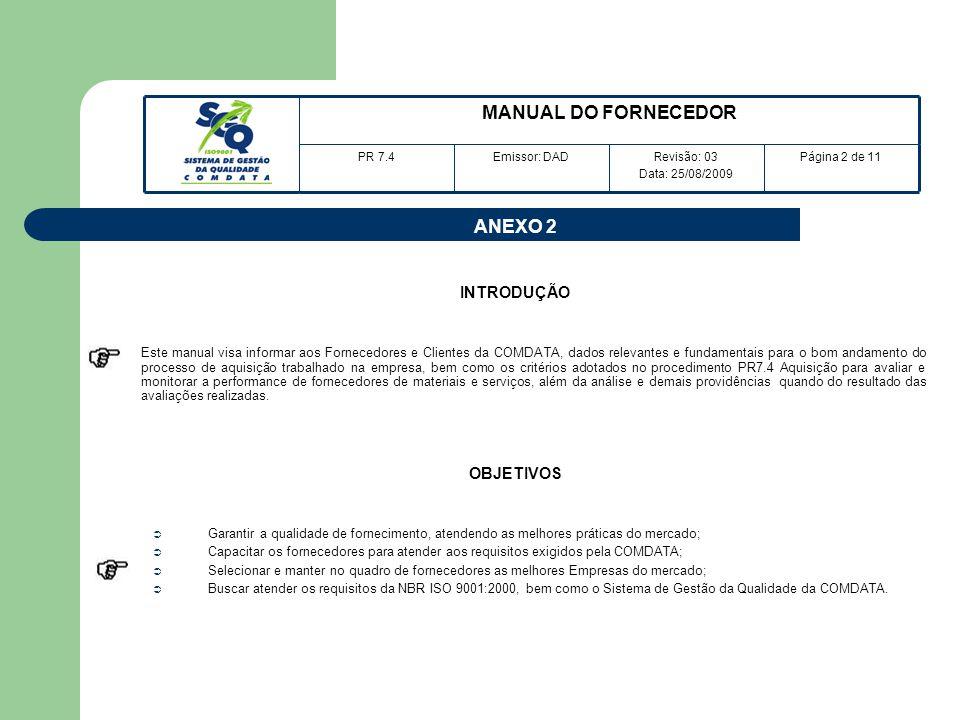 ANEXO 2 INTRODUÇÃO Este manual visa informar aos Fornecedores e Clientes da COMDATA, dados relevantes e fundamentais para o bom andamento do processo