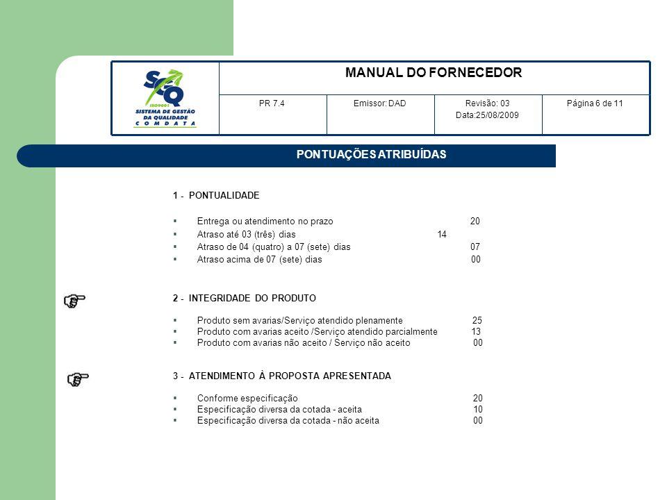 PONTUAÇÕES ATRIBUÍDAS 1 - PONTUALIDADE Entrega ou atendimento no prazo 20 Atraso até 03 (três) dias 14 Atraso de 04 (quatro) a 07 (sete) dias 07 Atras