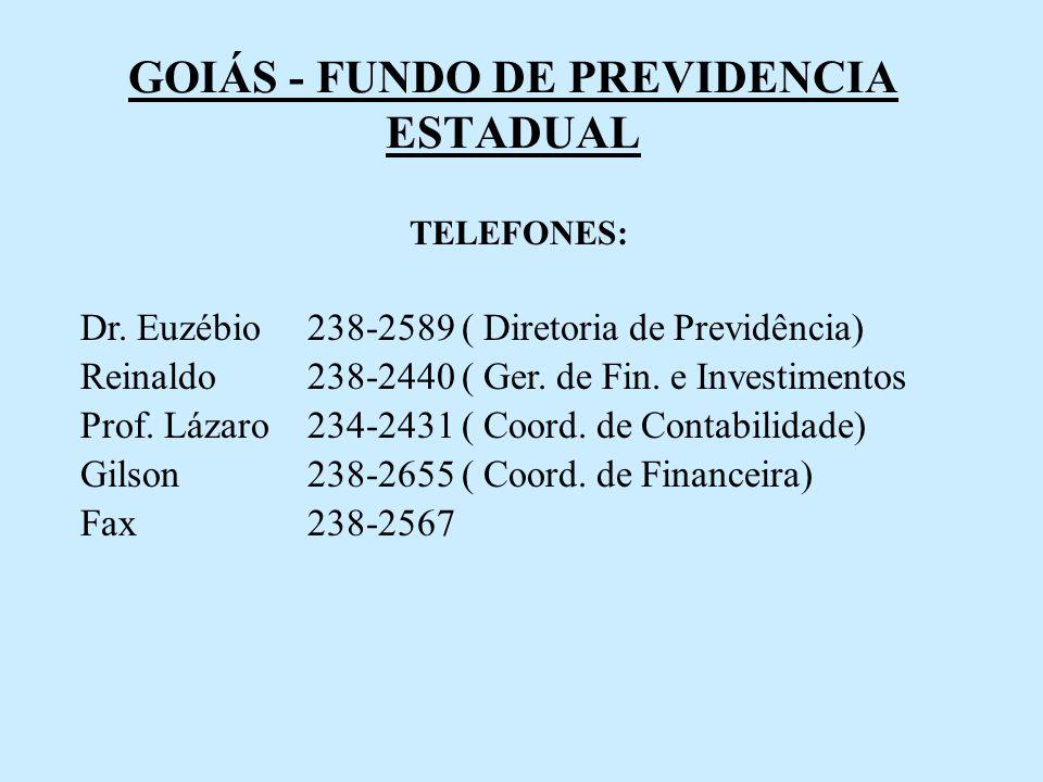 GOIÁS - FUNDO DE PREVIDENCIA ESTADUAL TELEFONES: Dr. Euzébio 238-2589 ( Diretoria de Previdência) Reinaldo 238-2440 ( Ger. de Fin. e Investimentos Pro