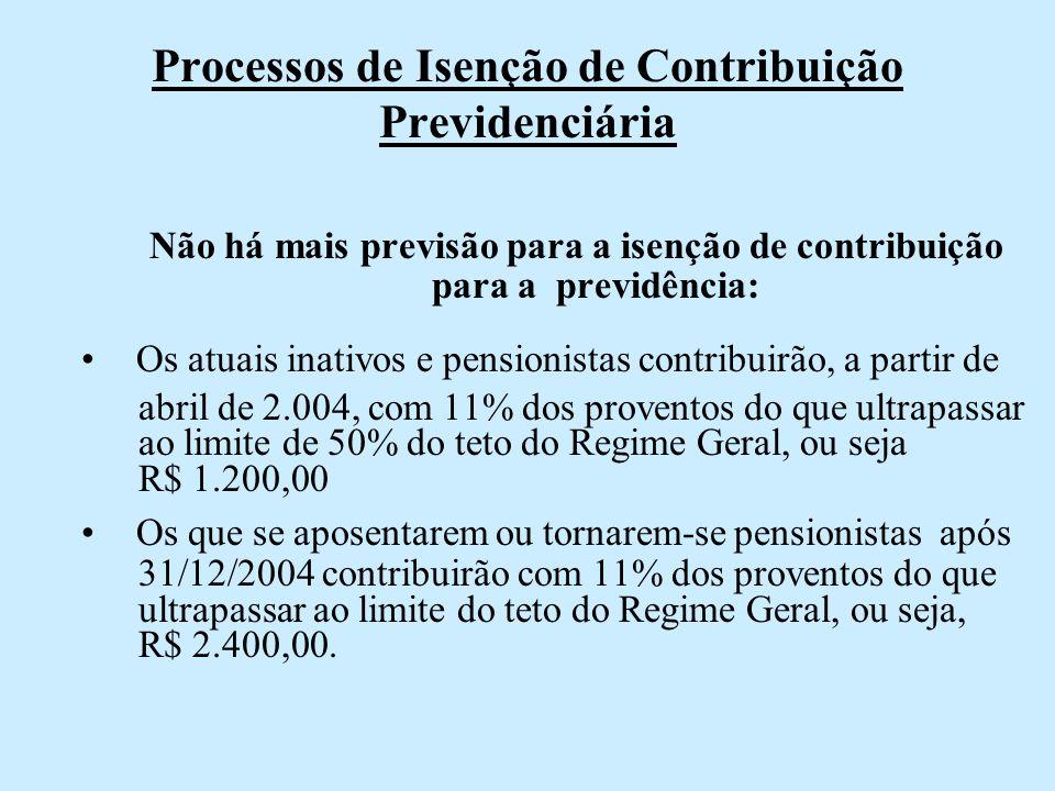 Processos de Isenção de Contribuição Previdenciária Não há mais previsão para a isenção de contribuição para a previdência: Os atuais inativos e pensi